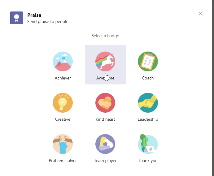 Select a badge for your Praise in Microsoft Teams